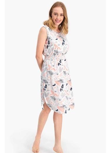 Arnetta Leaf Pattern Krem Kadın Elbise Krem
